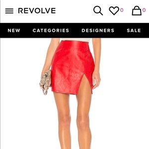 "REVOLVE RED FAUX LEATHER MINI SKIRT - ""TRINITY"""